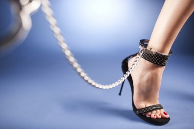 High heels and ankle cuffs