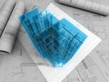 3D plan drawing stock vector