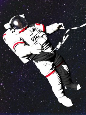 Astronaut in space against a starry sky.