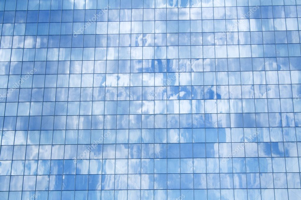 Glasfassade textur  Bau Detail reflektieren Himmel — Stockfoto #6408508