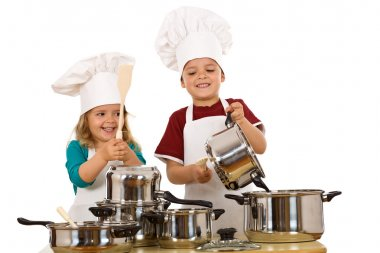 Happy chefs making noise