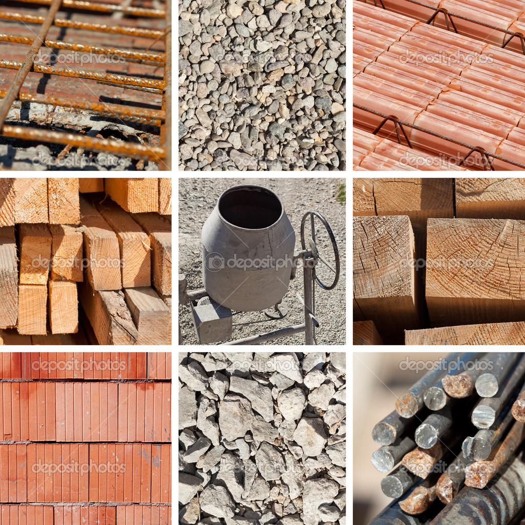 Construction materials collage