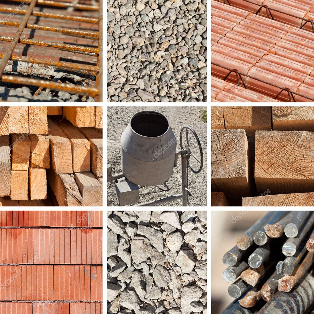 Construction materials collage stock photo lightkeeper for Waste material images