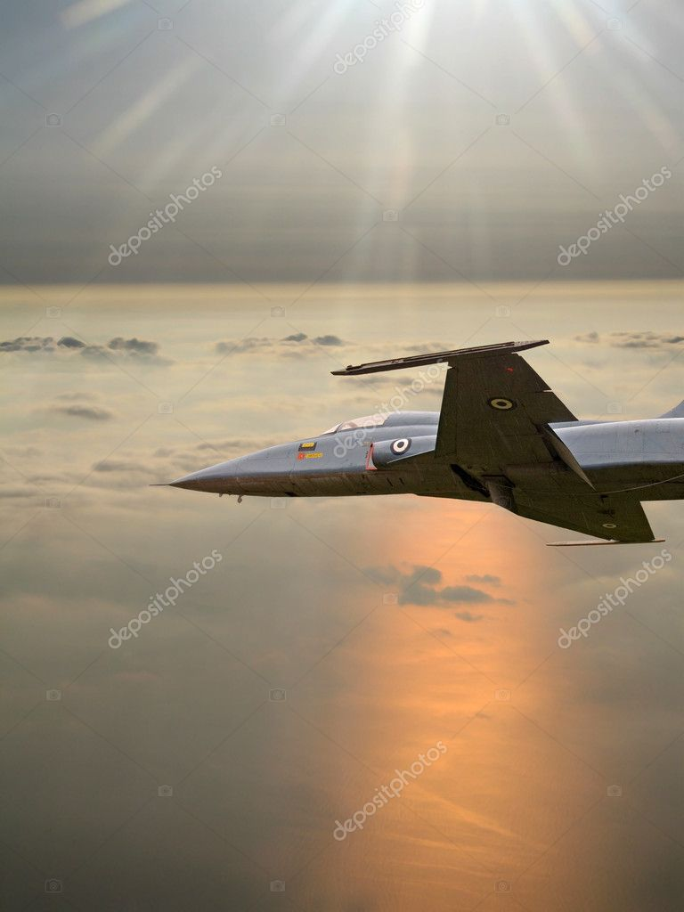 A fighter plane over the sea