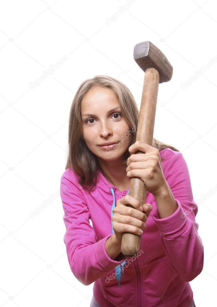 Картинка женщины с молотком