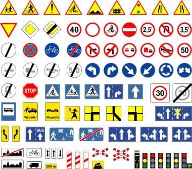 Road signs, Poland stock vector