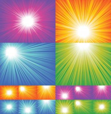 Four diffrent sunbeam backgrounds. EPS 8 CMYK global colors vector illustration. stock vector