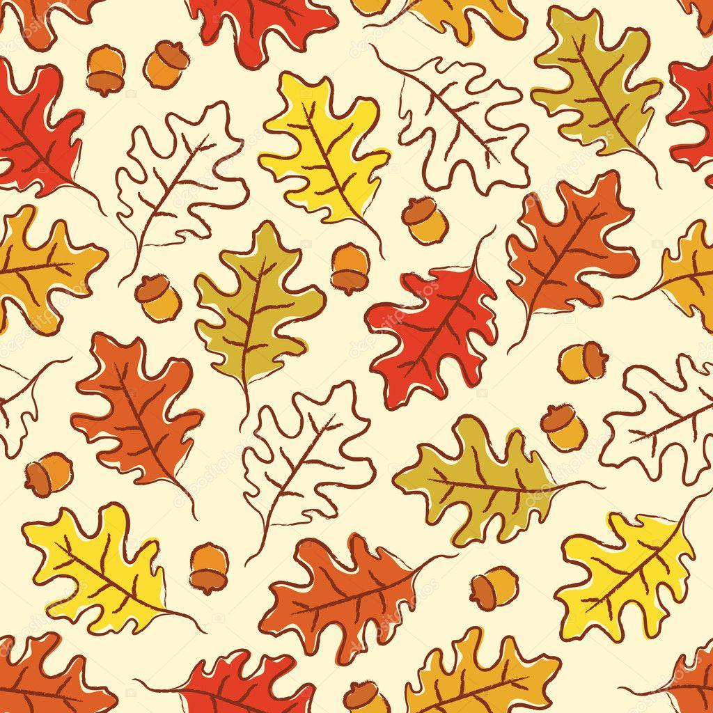 Oak leaves seamless pattern.