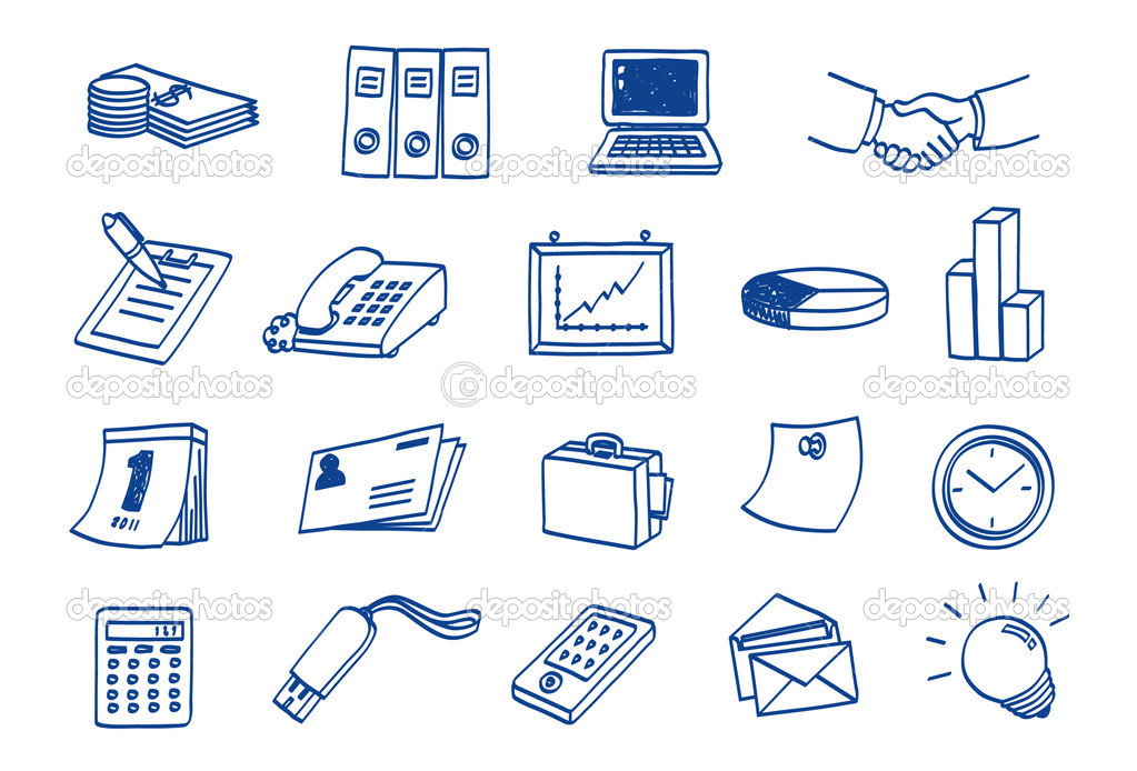 Doodle Business Icon Set