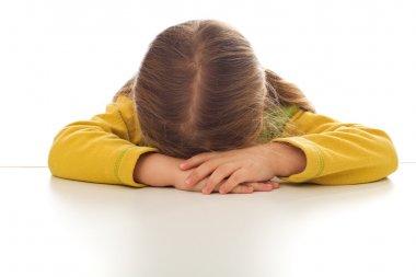 Little sulking or crying sad girl
