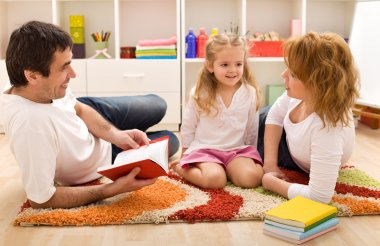 Family story time in the kids room