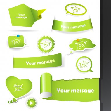 Set of green labels, stickers.