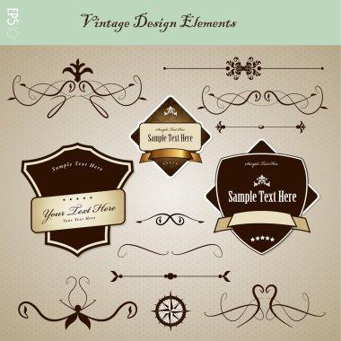 Set of vintage design elements.