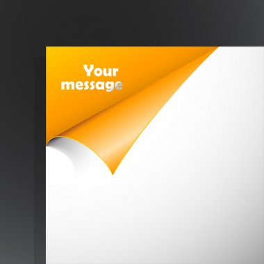 Paper with orange corner and place for your text.