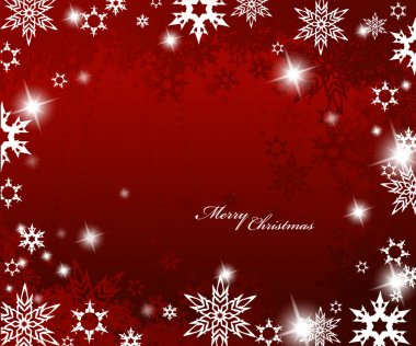 Christmas red background with snow flakes.