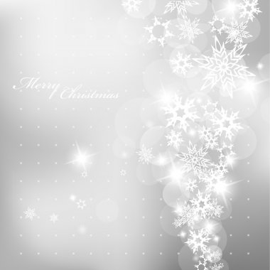 Christmas silver background with snow flakes. clip art vector