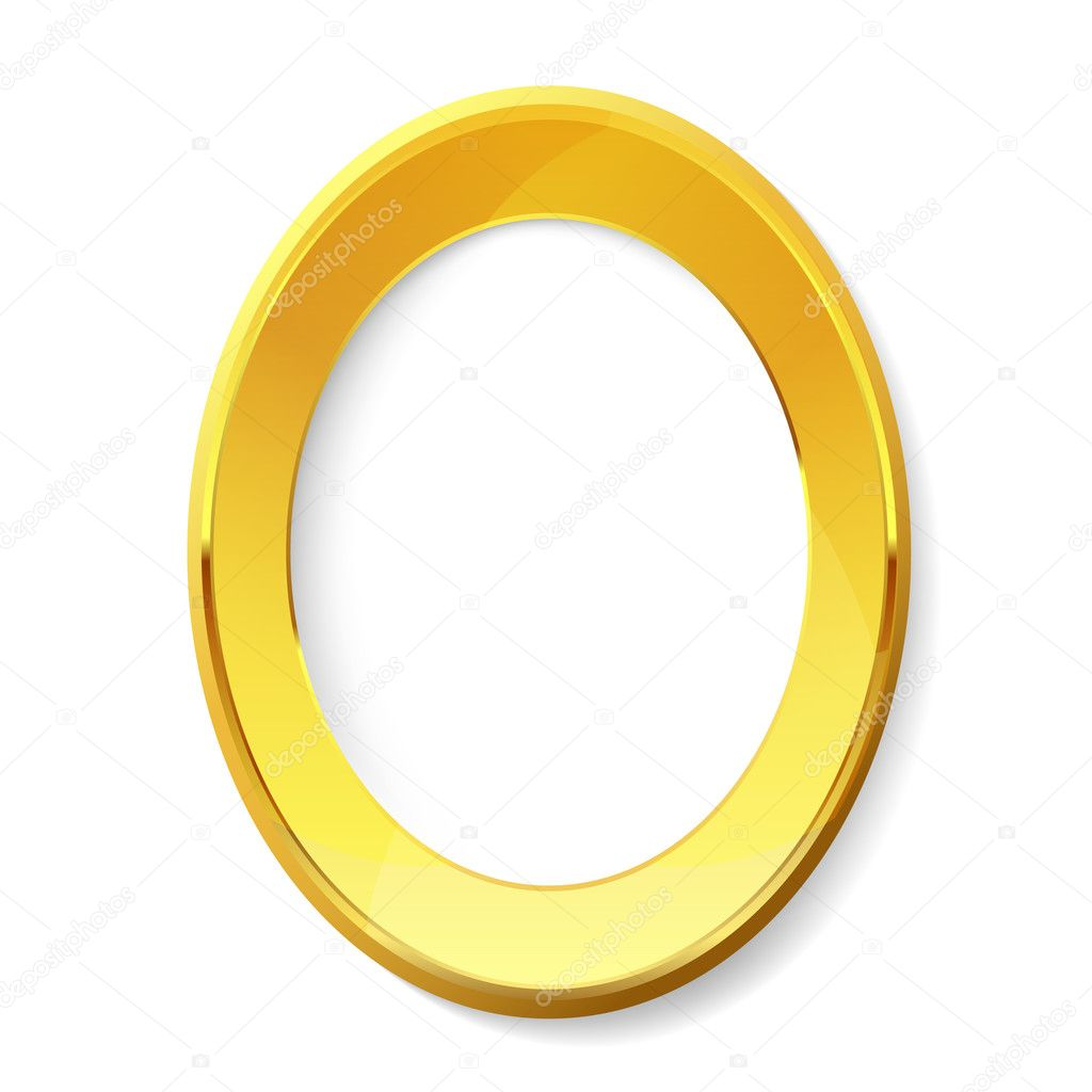 Empty golden picture frame.