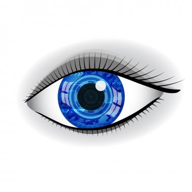 Human blue technology eye with reflection.