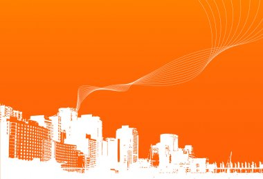City with orange background. Vector.