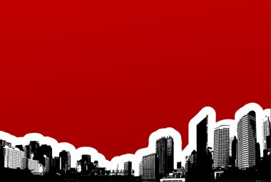 Black city on red background. Vector art
