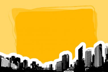 Yellow board with silhouette of city. Vector