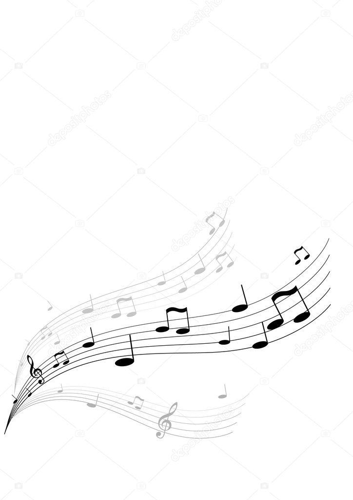 Flying Music On White Background Vector Art