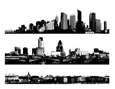 Black and white panorama cities. Vector art
