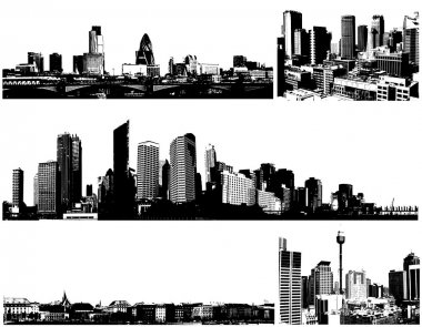 Black and white panorama cities. Vector art clip art vector
