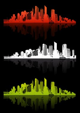 3 cities with different color. Vector art