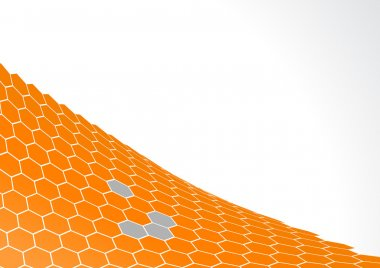 Orange polygons with white background. Vector art