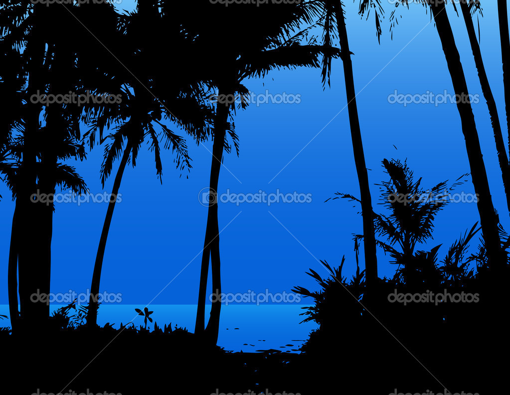 Palm trees on the beach with blue sky and sea. Vector