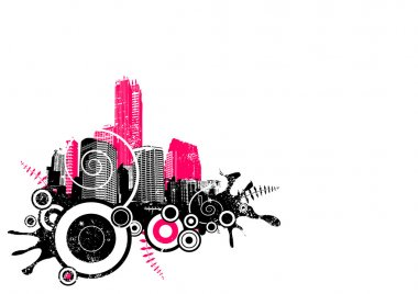 Grunge city in the corner. Vector art