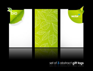 Set of nature gift cards with reflection.