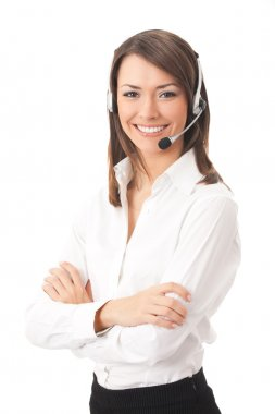 Support phone operator in headset, isolated on white stock vector