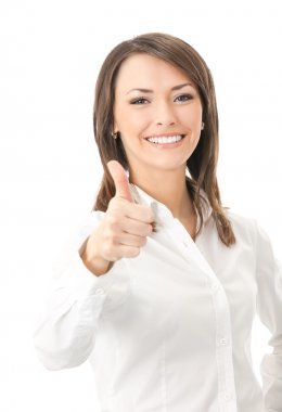 Young happy smiling businesswoman, isolated
