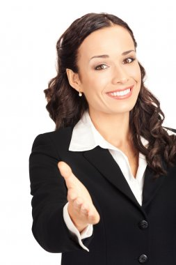 Business woman giving hand, isolated