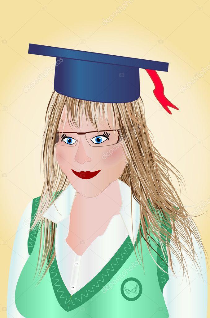Chicas Graduadas Animadas Dibujos Animados Chica Solo
