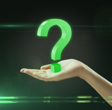 Green question mark on a woman's hand