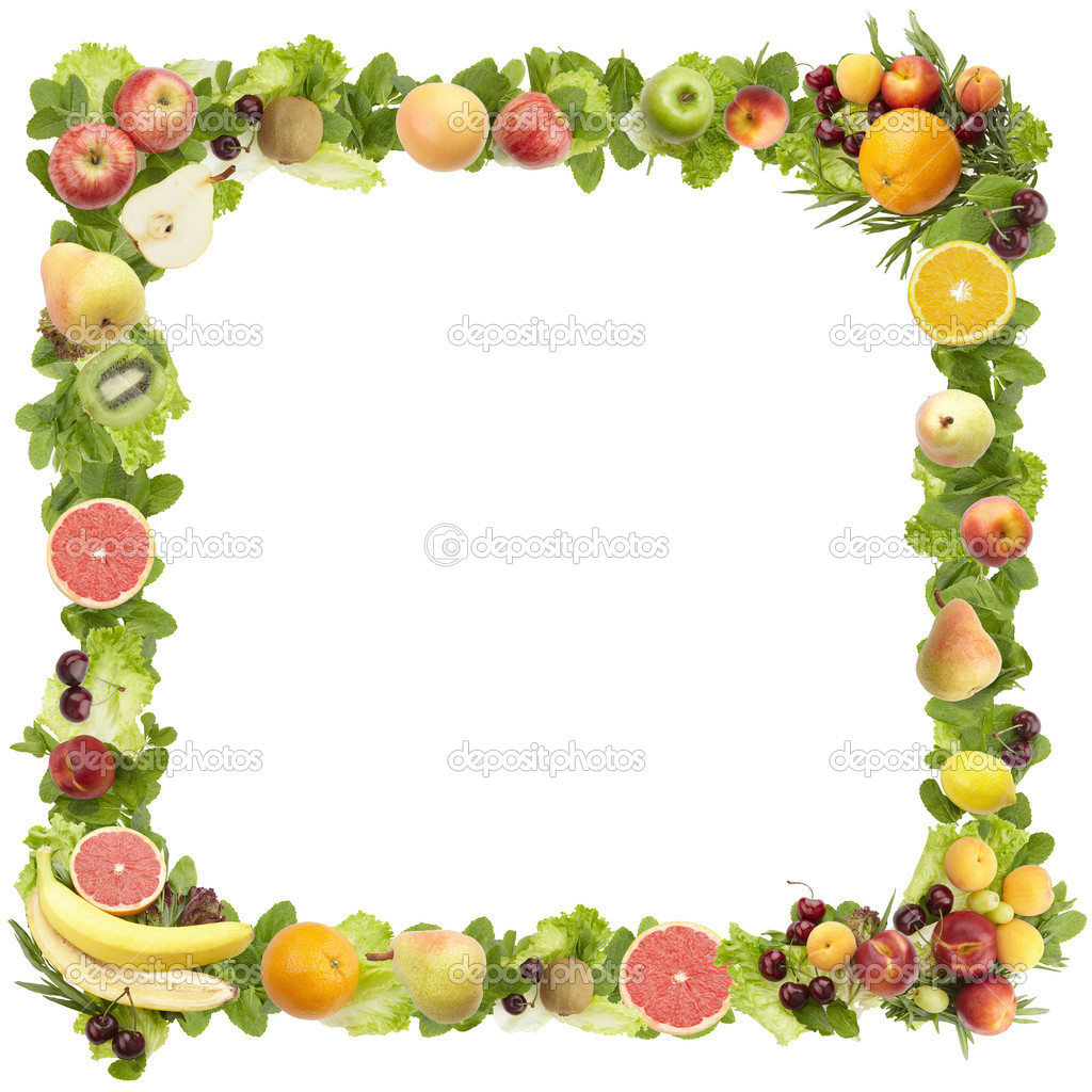 The frame made of fruits on a white background
