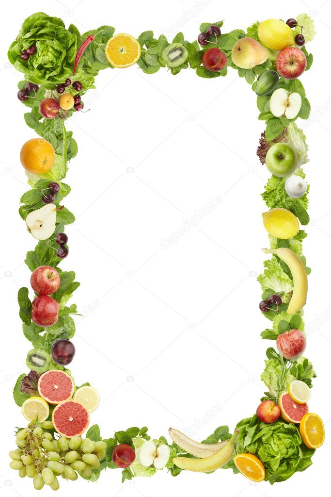 The frame made of fruits and vegetables on a white background