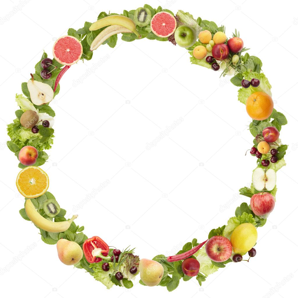 The round frame made of fruits and vegetables. Isolated on a white backgr