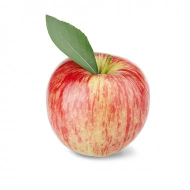 Ripe red apple with a leaf. Isolated on a white background stock vector