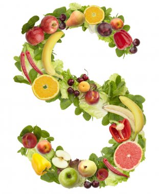 Fruit and vegetable alphabet - letter S