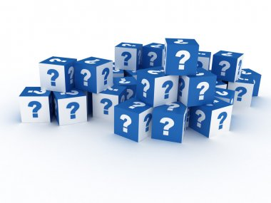 Question cube on white background