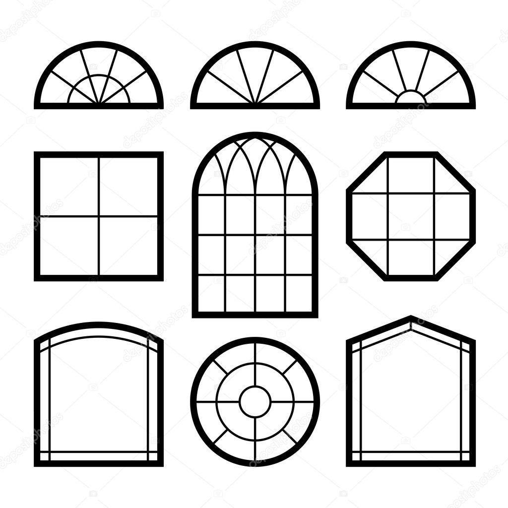 windows silhouettes  u2014 stock vector  6332030