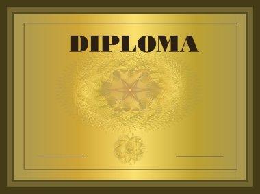 Diploma gold, Frame vector template