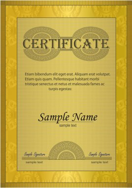 Vector Certificate gold ornament frame