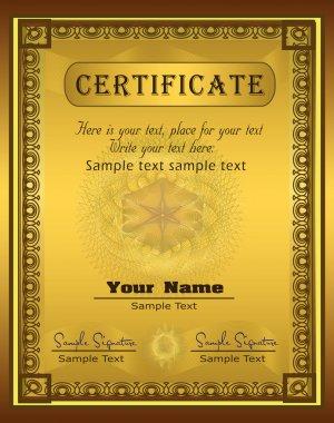 Vector Certificate gold frame Vertical