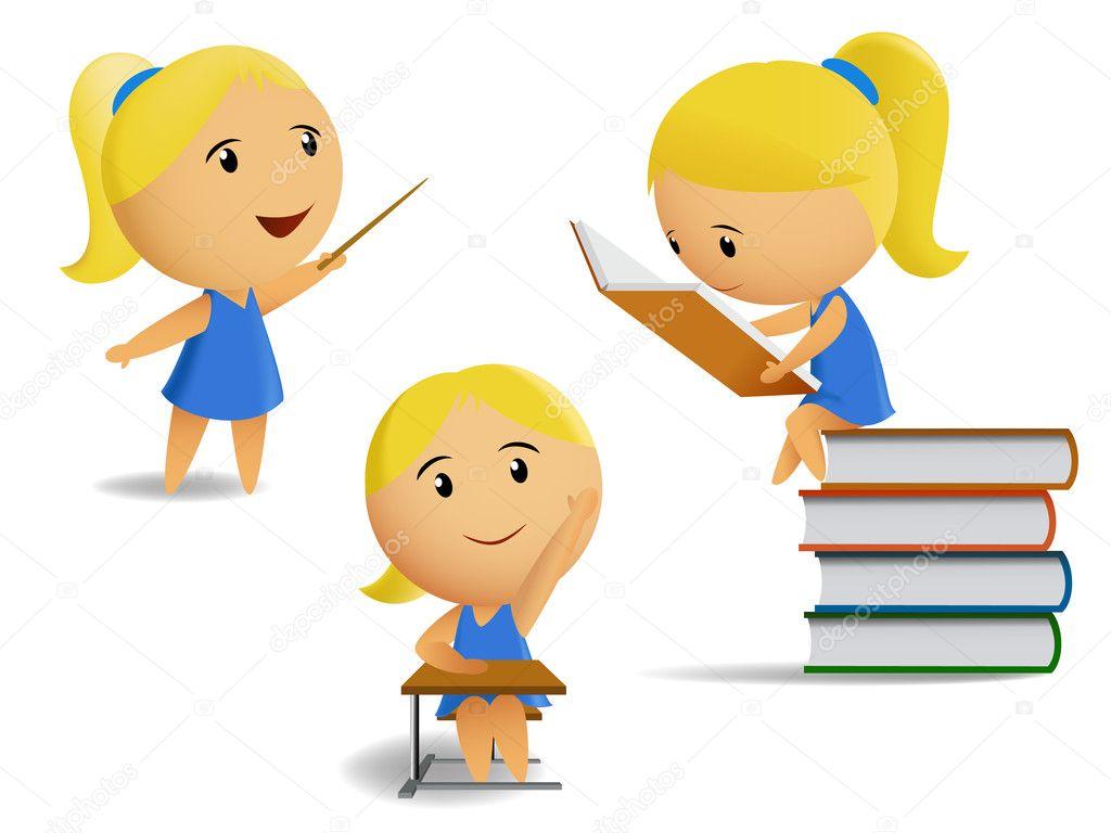 Set of student school girls