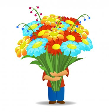 Vector illustration men who hold big bouquet of beautiful flowers stock vector